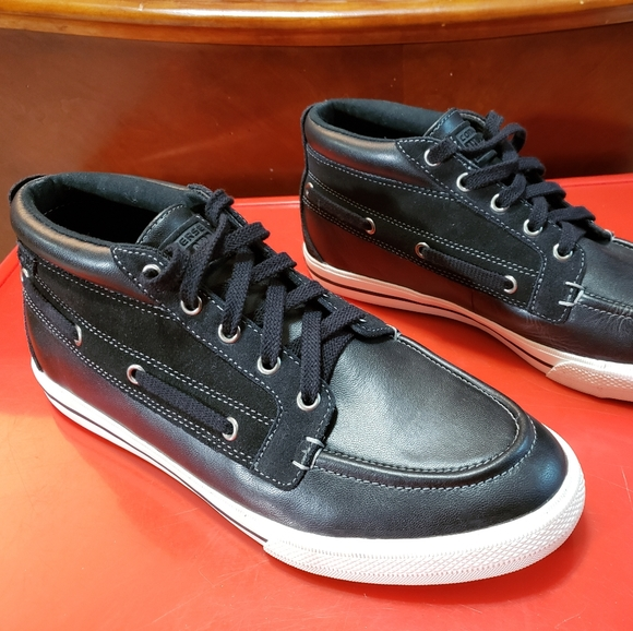 Converse Shoes   Black Leather Boat